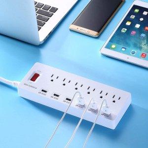 $23.79(原价$32.99)Poweradd 安全插排 全新升级 6+6 插口+USB充电 1.8米