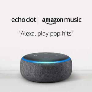 白菜价Echo Dot 3智能音箱 仅$0.99订阅Amazon Music Unlimited,组Alexa的多声道智能音箱
