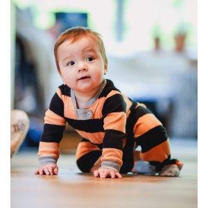 Burt's Bees BabyRugby Stripe Organic Baby Sleep & Play Halloween Pajamas