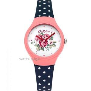 Ladies' Cath Kidston Spray Flowers Navy Polka Dot Silicone Strap Watch
