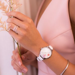 TimexSwarovski Leather Strap Floral Watch | Timex