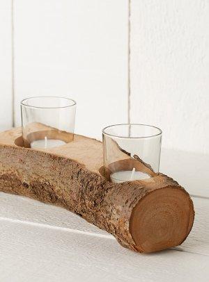 Rustic log candle holder   Simons Maison