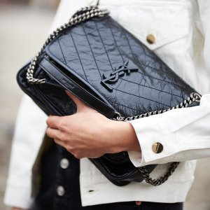 Saint Laurent- Medium Niki Crinkle Leather Nickel Hardware Flap Bag