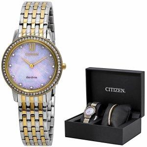 立省$116.98 $124.99 (原价$295)Citizen 珍珠母贝施华洛世奇水晶腕表套装