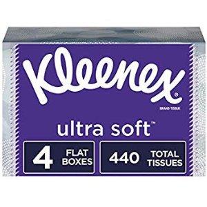Kleenex Ultra Soft Facial Tissues, 4 Flat Boxes