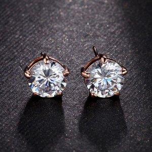 $10.00Sterling Silver Round Cut Cubic Zirconia Stud Earrings @ Amazon