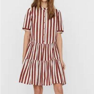 Vero Moda复古风满满,超值价红白条纹连衣裙