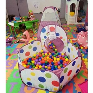 $29 EocuSun Polka Dot 3-in-1 Folding Kids Play Tent with Tunnel, Ball Pit and Zippered Storage Bag @ amazon