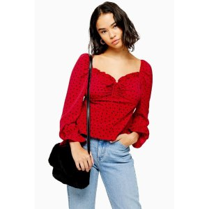 TopshopPETITE PALERMO Red Heart Print Long Sleeve Blouse
