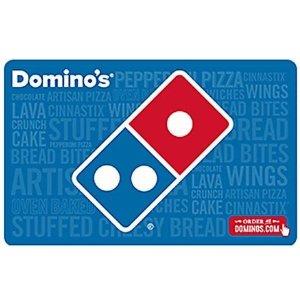 结合本周$6大披萨优惠更实惠Domino's披萨礼卡 买$25送$5 电子邮件快速发送