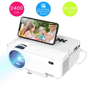 超值价¥764 美亚4.5星好评TOPVISION 2400LUX 便携式迷你投影仪 可直接连手机