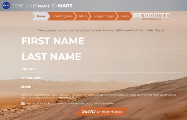 把你的名字发送到火星