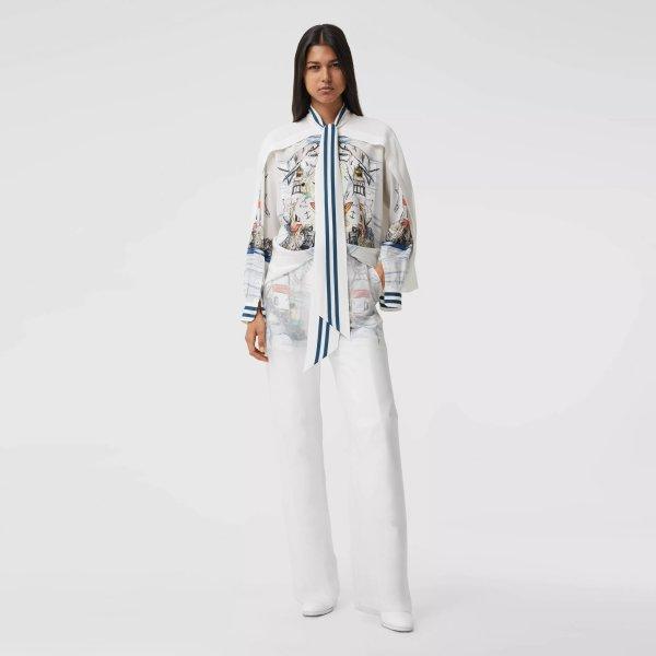 披肩细节海洋素描印花丝质系带衬衫