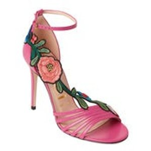Century 21Pink Floral Embroidered Leather Sandals