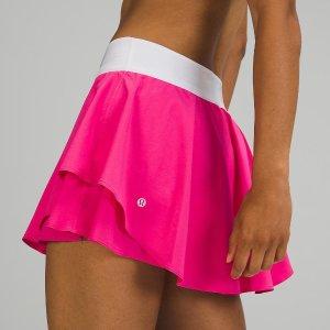 $78+包邮 带内衬 码全上新:Lululemon Court Rival 艳粉色高腰网球裙热卖