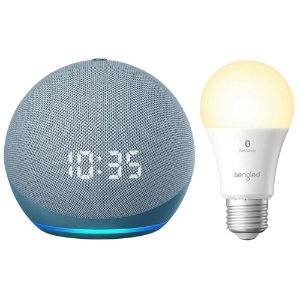 Amazon时钟版Echo Dot (4th Gen) +A19灯泡