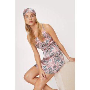Nasty GalPetite Paisley Print Slip Dress and Headscarf Set