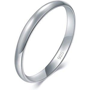925 纯银抛光戒指