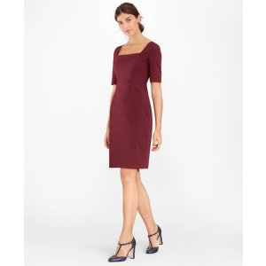 Brooks BrothersStretch-Wool Square-Neck Sheath Dress - Brooks Brothers