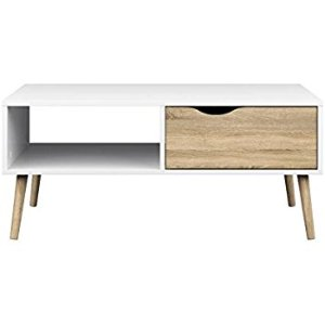 (4) 客廳桌:Amazon.com: Tvilum 7538449ak Diana Coffee Table, White Oak