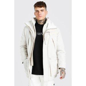 boohooMANMAN Branded Funnel Neck Ski Jacket | boohooMAN