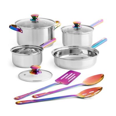 Mainstays Stainless Steel Cookware Set, Iridescent, 10 Piece