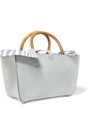 Muun | Marian leather and striped cotton-canvas tote