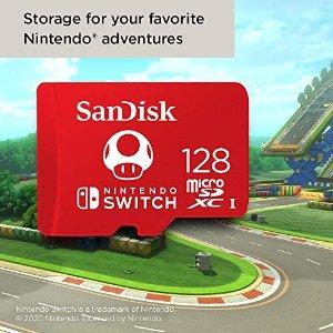 SanDisk5.4折,亚马逊销冠!128G 高速储存卡,Nintendo Switch专用存储卡
