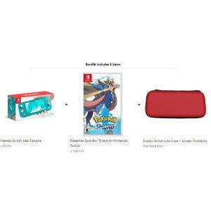 $238.99 (原价$269.94)Nintendo Switch LIte 三色可选 + 宝可梦 剑/盾 + 收纳包&屏保