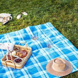 蓝色格纹野餐垫 175 x 200 cm