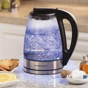 $29.99起 7折收大容量1.7升最后一天:Hamilton Beach 电热烧水壶好价 收玻璃款