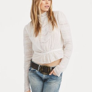 Ralph LaurenLace-Trim Cotton Voile Shirt