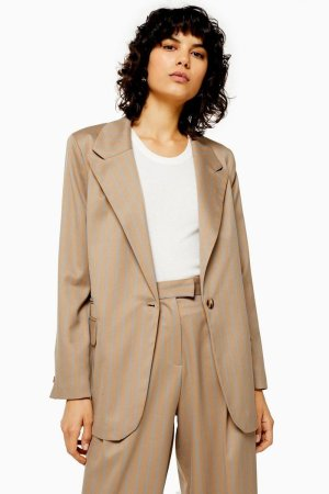 Camel Stripe Double Breasted Blazer | Topshop