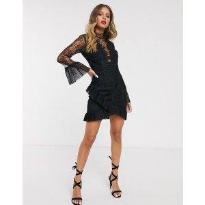 Bardot蕾丝拼接连衣裙