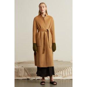 Side Slits Wrap Wool Coat