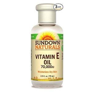 $5.46 1瓶仅$1.82史低价:Sundown Naturals 维生素E 滋润护肤油 3瓶