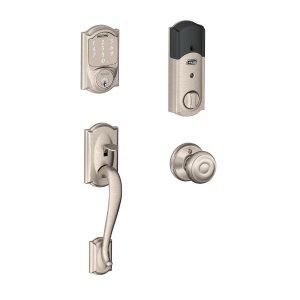 SchlageCamelot Satin Nickel Sense Smart Door Lock with Georgian Knob Door Handleset-BE479AA V CAM 619 + FE285 CAM 619 GEO - The Home Depot