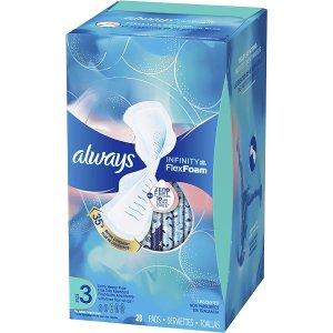 always$0.3/片Infinity Size 3卫生巾,无香带翼