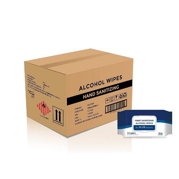75% 酒精 湿纸巾, 50张/盒 24盒