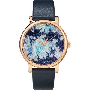 TimexCrystal Bloom with Swarovski Fabric 38mm Leather Watch | Timex