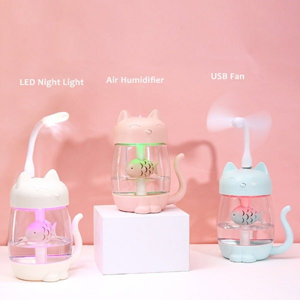 3合1小猫恋鱼风扇、加湿器、夜灯