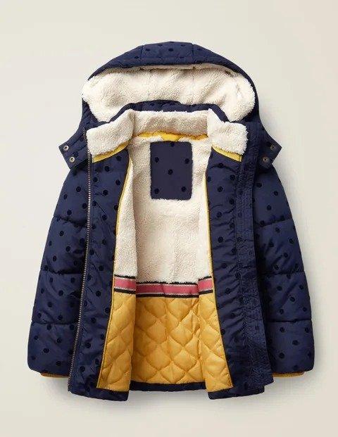 儿童二合一波点保暖外套,蓝色