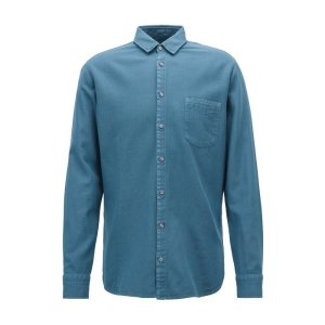 BOSSSlim-fit shirt in cotton with overdyed micro structure