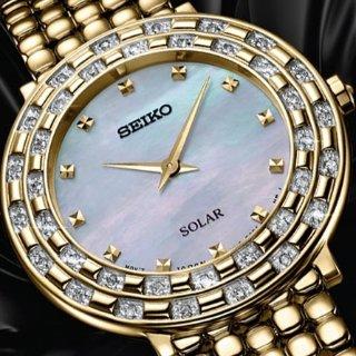 $199.99 (原价$650)独家:Seiko Tressia 系列珍珠母贝镶钻阳能时装女表