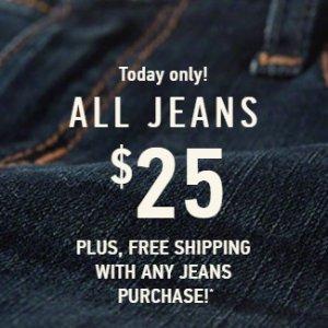 一律$25+免邮限今天:Hollister 官网男士、女士牛仔裤热卖