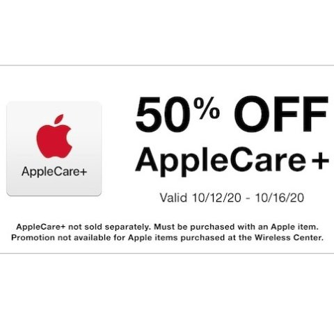 Sold with Apple Products50% off AppleCare + Including all Apple Products