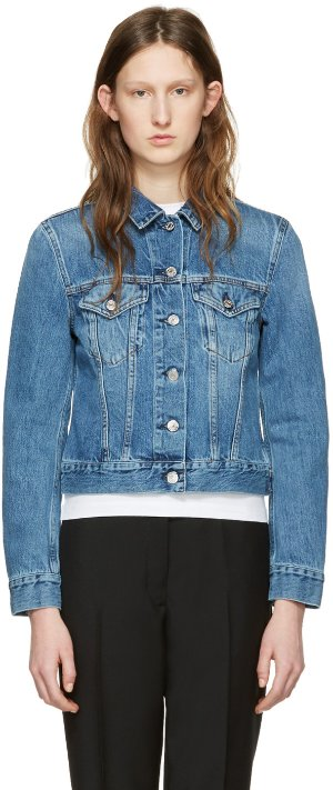Acne Studios: Blue Denim Top Jacket | SSENSE