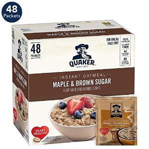 $8.13 轻松解决两个月早餐闪购:Quaker 速溶早餐燕麦片 枫糖口味 48包