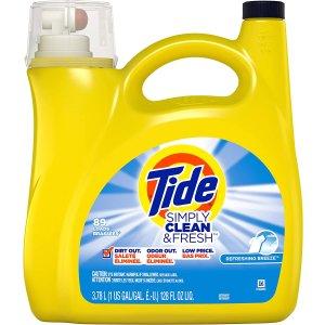 $6.87(原价$8.97)Tide 汰渍洗衣液 Simply Clean and Fresh 配方3.78L