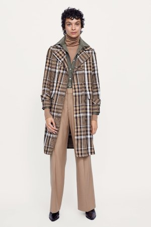 Zara PLAID DOUBLE-BREASTED TRENCH COAT
